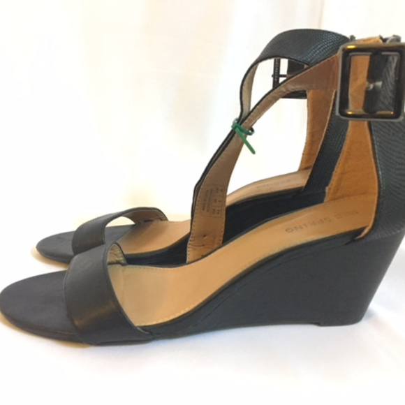Call It Spring Black Mid Wedge Sandal